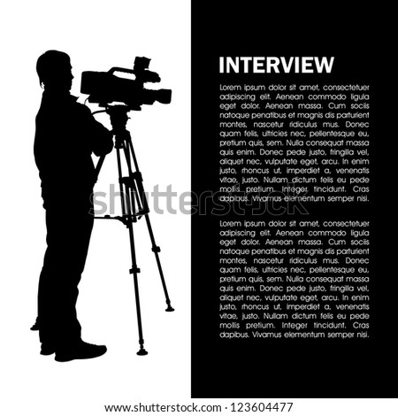 Cameraman at work silhouettes with interview page - stock vector