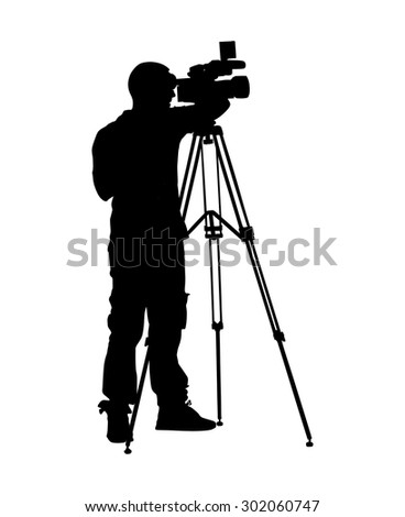 Cameraman silhouette with video camera in studio isolated on background. Vector illustration.  - stock vector