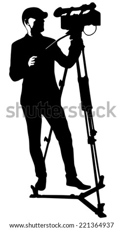 cameraman with video camera - stock vector