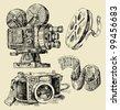 cameras hand drawn - stock vector