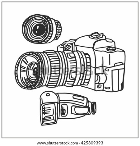Cameras. Hand-painted. Black. - stock vector