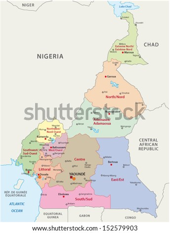 cameroon administrative map - stock vector