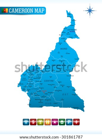 Cameroon Blue Map - stock vector