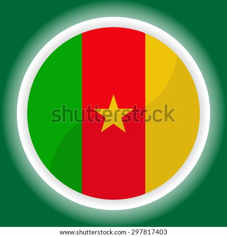 Cameroon flag button on green  background - stock vector