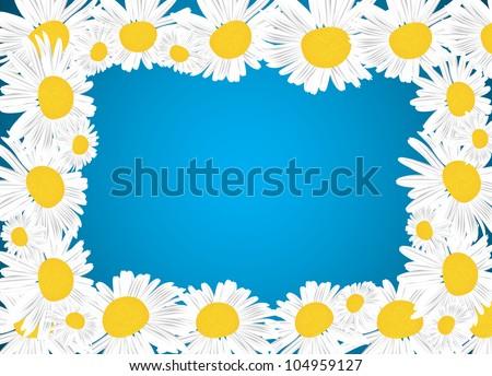 Camomile Floral Frame. Clip-art - stock vector