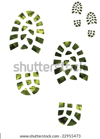 Camouflage and green boot prints - stock vector
