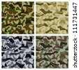 Camouflage background of different colors with classic pattern - stock vector