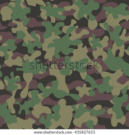 Camouflage military fashion green beige vector seamless pattern - stock vector