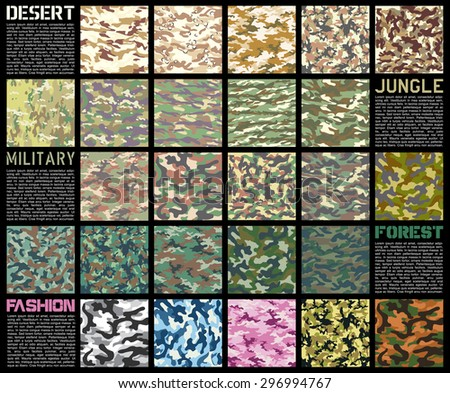 camouflage pattern set texture in vector format - stock vector