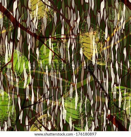 Camouflage print with realistic leaves. Seamless pattern. EPS 10 vector illustration. - stock vector