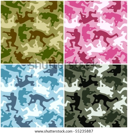 Camouflage set. Spots in the shape of men with weapons - stock vector