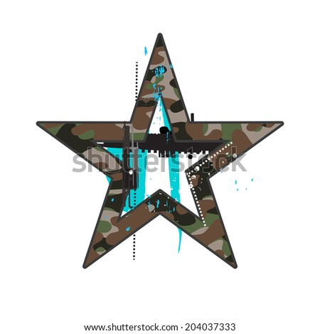 Camouflage star symbol on white - stock vector