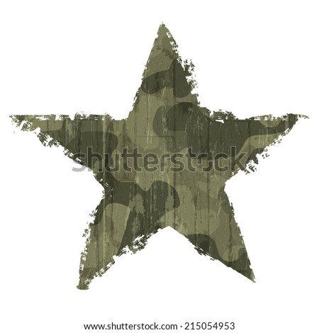 Camouflage star symbol. Vector, EPS10 - stock vector