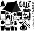 Camp Camping Picnic Recreational Jungle Survivor Tool Equipment Silhouette - stock vector