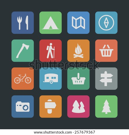 camp icon set - stock vector