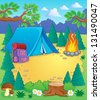 Camp theme image 1 - vector illustration. - stock vector