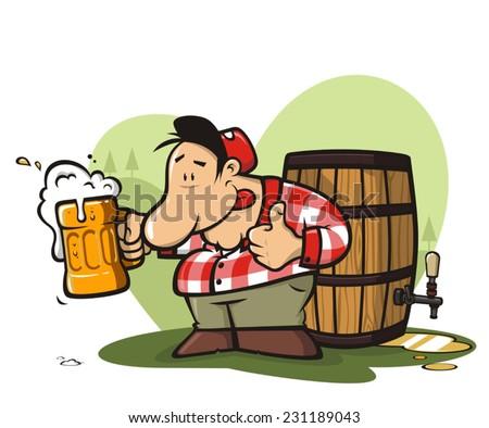 Camper man drinking beer - stock vector