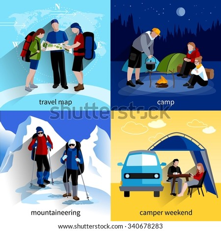 Camper people icons set with travel map mountaineering and camper weekend symbols flat isolated vector illustration  - stock vector