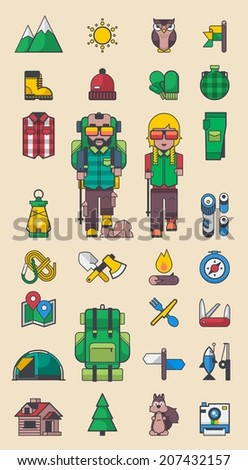 Camping and hiking vector elements, men and woman character with mountain elements - stock vector