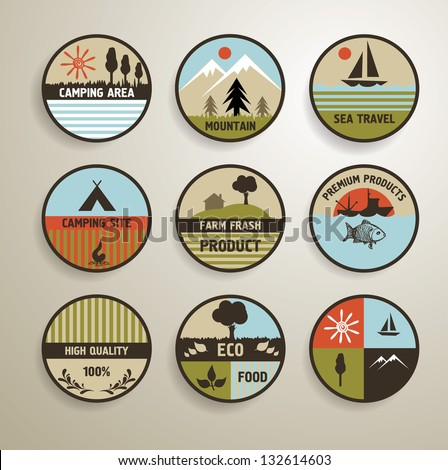 Camping and nature vector labels set. - stock vector