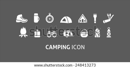 Camping and outdoor activity icon - stock vector