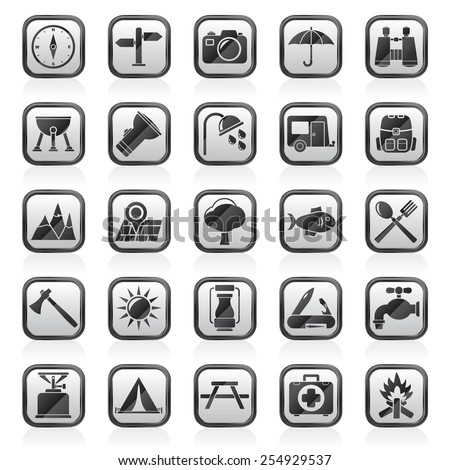 Camping and tourism icons - vector icon set - stock vector