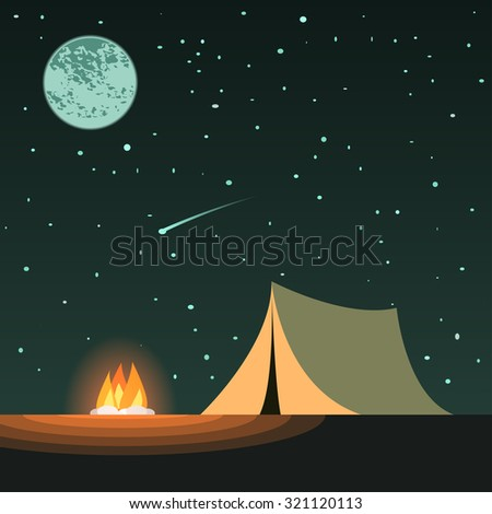 camping at night with tent and campfire, under the night sky with a lot of stars and moon - stock vector