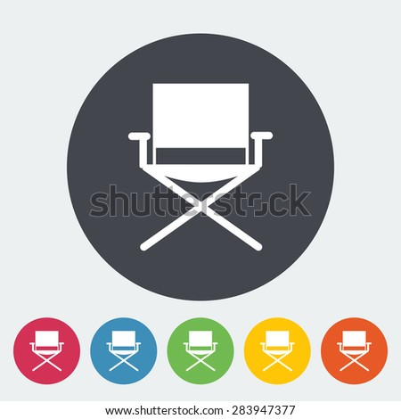 Camping chair. Single flat icon on the circle. Vector illustration. - stock vector