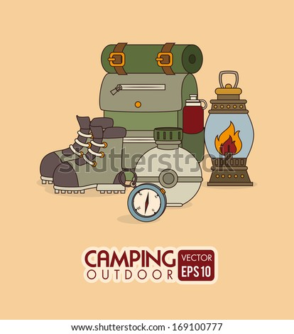 camping design over orange background vector illustration - stock vector