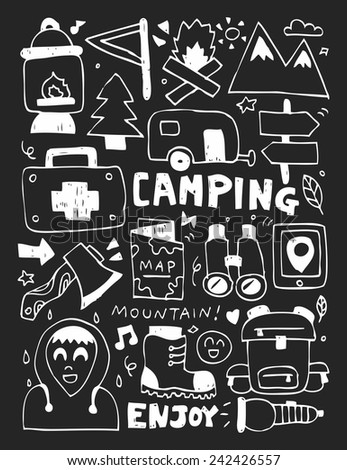 Camping elements doodles hand drawn line icon, eps10 - stock vector