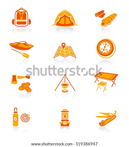 Camping equipment and tools red-orange icon-set - stock vector