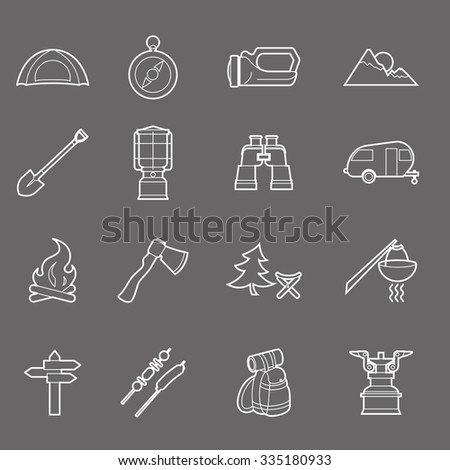 Camping equipment and travel icons set - campsite - stock vector
