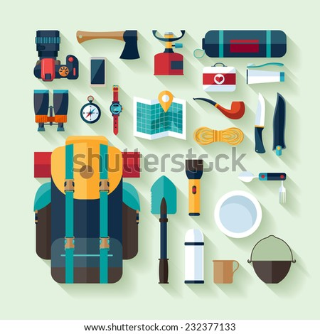 Camping equipment. Flat design. - stock vector