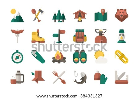 camping equipment icons, vector elements - stock vector