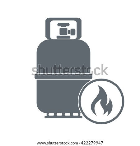 Camping gas container icon on white background . Vector illustration - stock vector