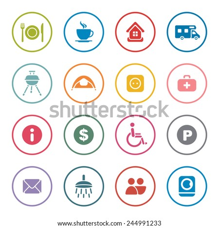 Camping icon set - stock vector