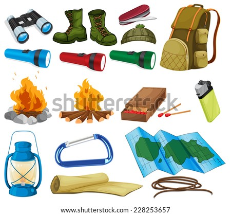 Camping objects and equipment on white - stock vector
