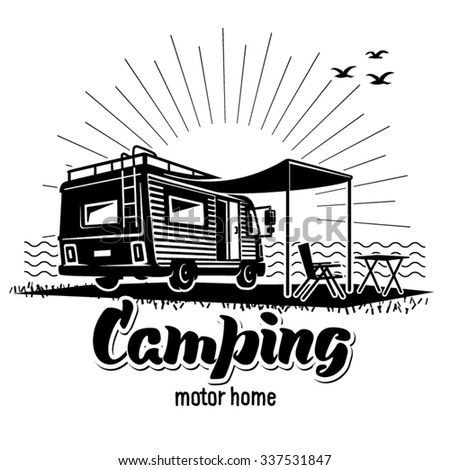 Camping. Recreation with family. Illustration in the engraving style - stock vector