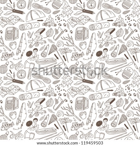 camping - seamless background - stock vector
