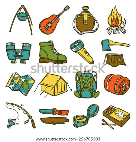 Camping sketch icon set with tent axe compass lantern isolated vector illustration - stock vector