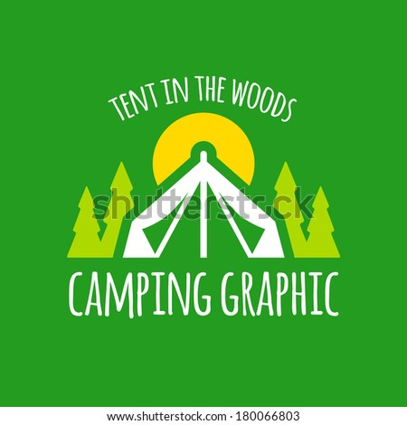 Camping tent graphic with trees and sunset - stock vector