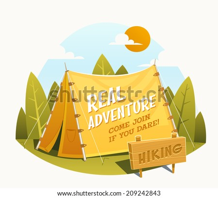 Camping Tent. Vector illustration. - stock vector