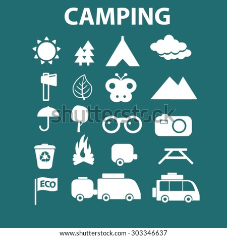 camping, travel isolated flat web icons, signs, illustrations set, vector - stock vector