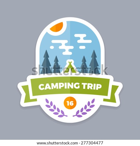 Camping trip emblem logo with banner and tent - stock vector