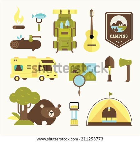 camping vector icons - stock vector