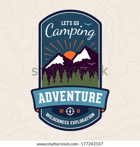 Camping wilderness adventure badge graphic design logo emblem - stock vector