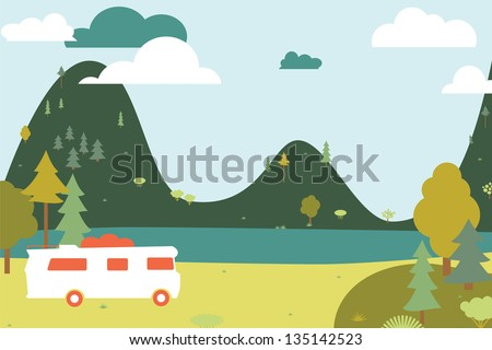 Camping wooden with tent and bus. Vector illustration - stock vector