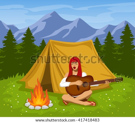 Campsite with Mountains, Meadow, Pine Trees Vector Illustration. A cute tourist girl sitting at campfire playing guitar and singing. Camping Time. - stock vector