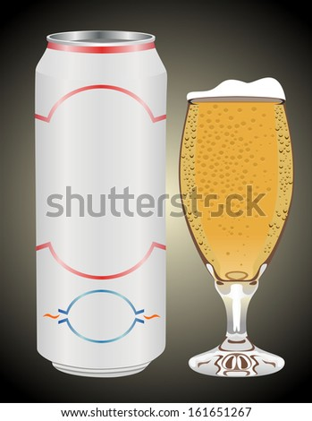 can and beer glass  - stock vector