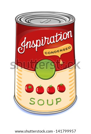 Can of condensed tomato soup Inspiration isolated on white background. Created in Adobe Illustrator. Image contains gradients and gradient meshes. EPS 8. - stock vector